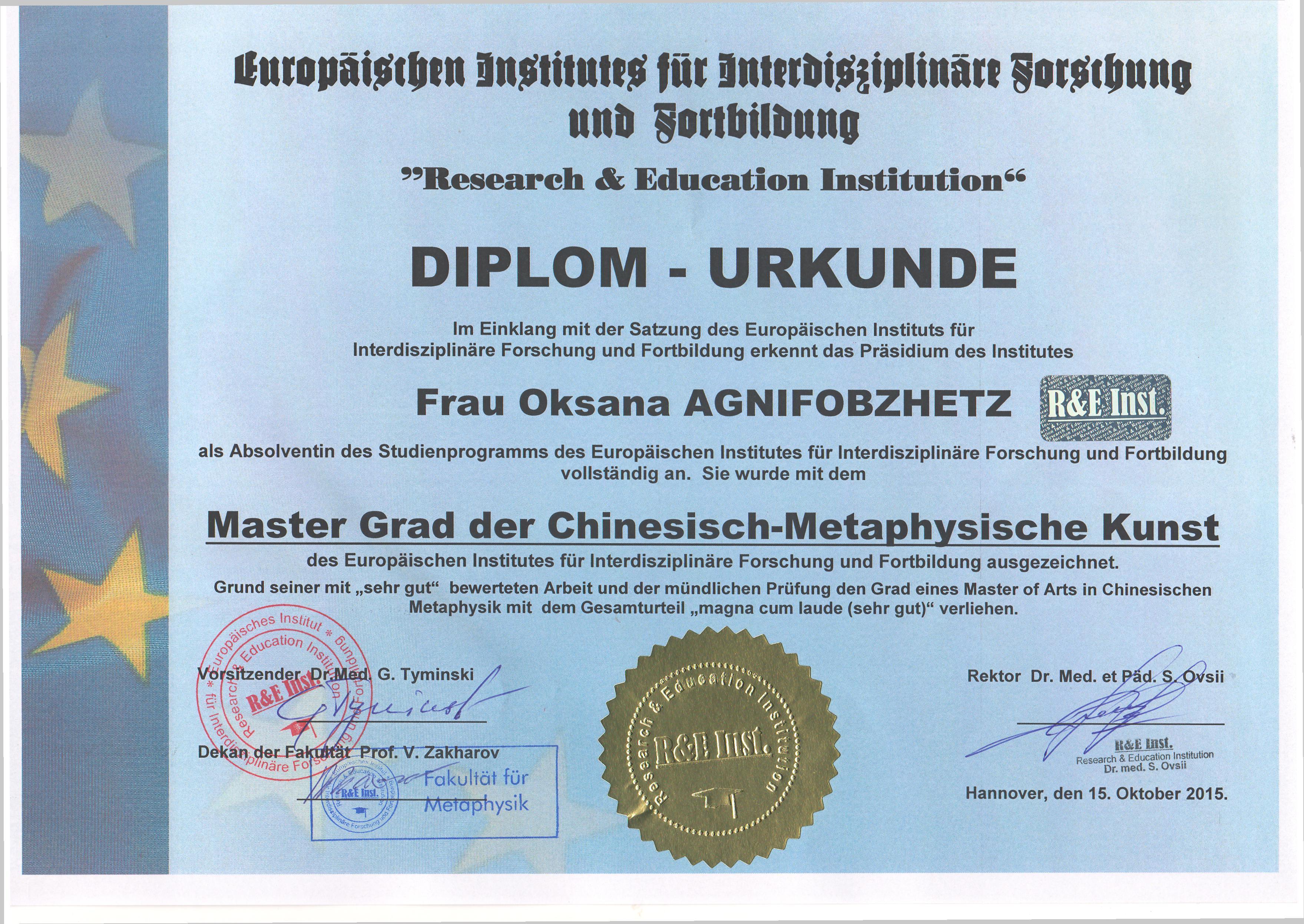 Masters degree O.Agnifobzhets